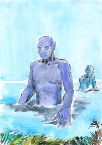 Dessin d'un Triton qui sort des eaux.