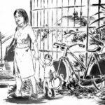 Dessin à l'encre de chine et au lavis, ayant pour titre: Nora à la plage, accompagné d'un petit garçon, à côté d'une bicyclette.