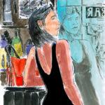 Alba au bar (dessin à l'encre et aquarelle)