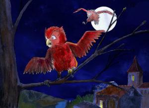 Deux chouettes, la nuit (dessin à la palette graphique).