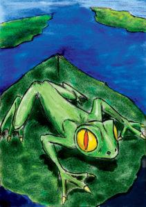 Une grenouille dans une marre (palette graphique et crayonné).