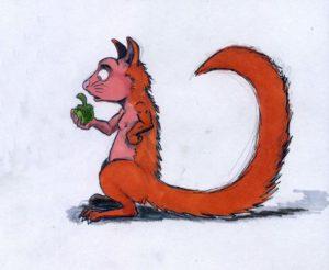Un écureuil, dessin de carnet
