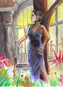 Muse au jardin (encre de chine, aquarelle et palette graphique).