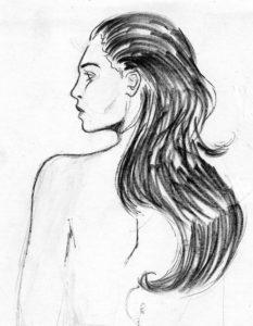 Perfil de mujer (marcador y tinta)